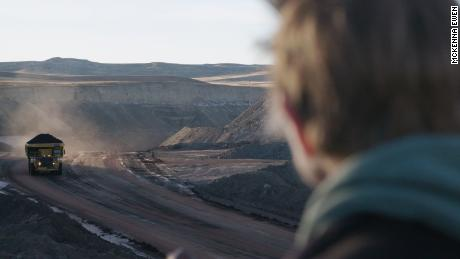 Lynne Huskinson, a retired coal minor, looks over the Eagle Butte mine in Gillette, Wyoming. Huskinson says she was laid off in 2019.