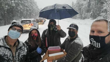 Health care workers in southwestern Oregon administered to stranded motorists six Covid-19 vaccine doses about to expire.