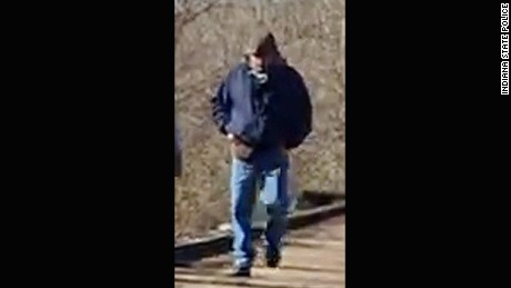 Indiana State Police released this photo of a man who was on the Delphi Historic Trails on February 13, 2017 around the time Abigail Williams and Liberty German went missing.