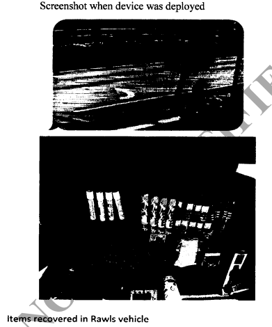 Screen shot from probable cause affidavit of items found in Paul Rawls Jr.'s Volkswagen