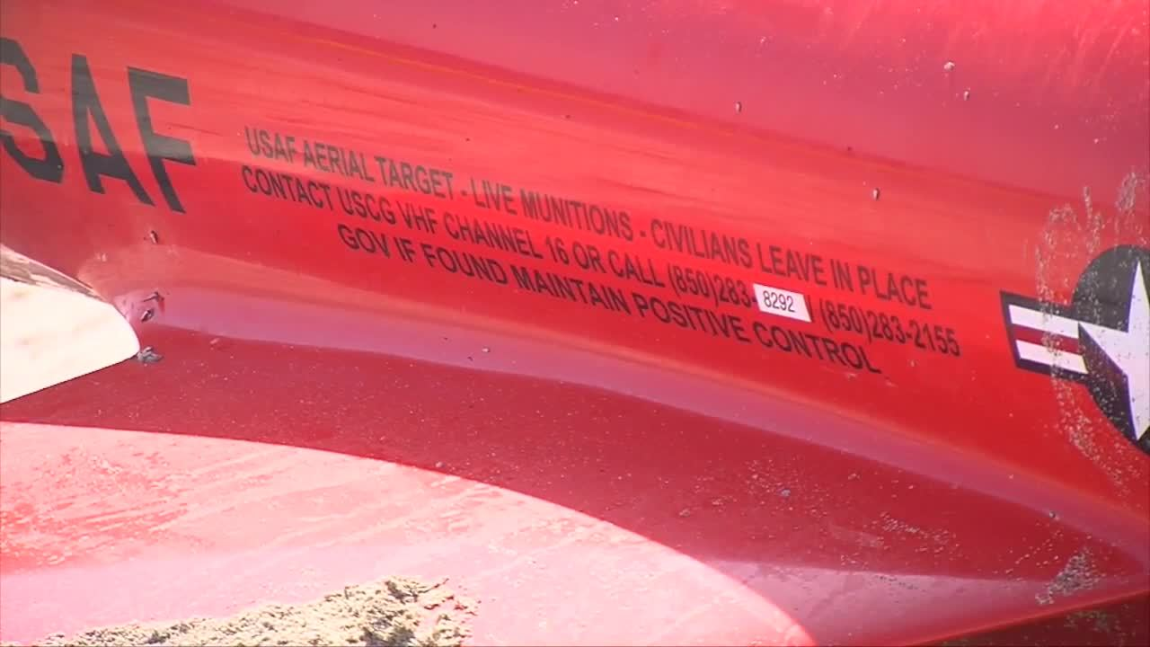 Instructions on side of U.S. Air Force drone found on beach in Ocean Ridge