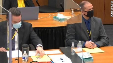 In this image from video, defense attorney Eric Nelson, left, and former Minneapolis police officer Derek Chauvin listen in court during jury selection Wednesday, March 10.