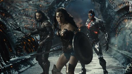 """(From left) Jason Momoa, Gal Gadot and Ray Fisher star in """"Zack Snyder's Justice League."""""""