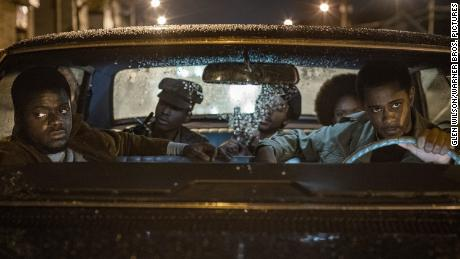 """(From left) Daniel Kaluuya, Ashton Sanders, Algee Smith, Dominique Thorne and Lakeith Stanfield are shown in a scene from """"Judas and the Black Messiah."""""""