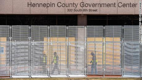 Workers installed security fencing at the Hennepin County Government Center in Minneapolis last month.